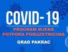 Program mjera potpora poduzetnicima Grada Pakraca zbog epidemije virusa COVID-19
